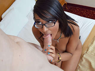Nerdy Ebony 18 yr old fucks and sucks Diana Love