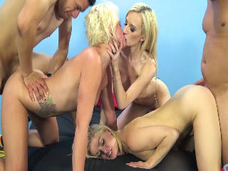 Stiff Pole For Three Stunning Blondes
