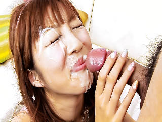 Sweet Risa Sakurai plays with her furry muff then takes on a cock and cream