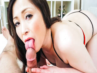 Slutty Miyama Ranko gives her guy a tongue lashing before sitting on his cock with her big tits boun