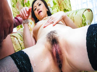 Dirty Miyama Ranko shows off her tits to a group of horny dicks