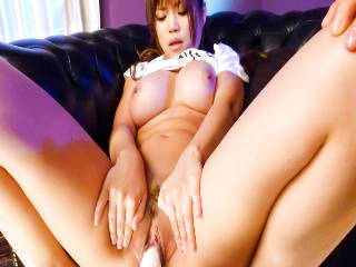 Pretty Azami in green shorts and a tshirt has her pussy played with before she is toyed and squirts