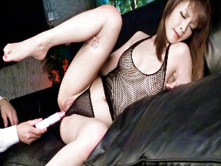 Riona Suzune looks sexy in black and her husband bends her over to toy her pink pussy with a vibrato