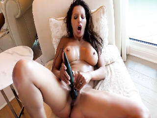 Naked, Tanned MILF's Oily Masturbation